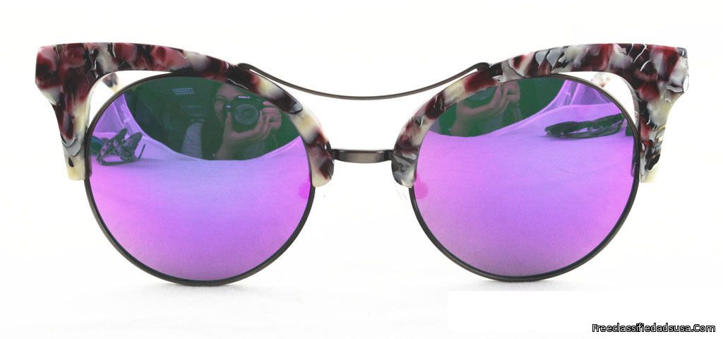 Cat Eye Purple White Frame With Purple Silver Mirror Lens.