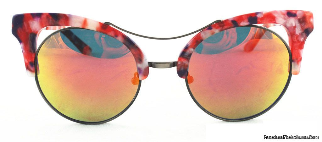 Cat Eye Red Whit Frame-Red Gold Mirror Lens.