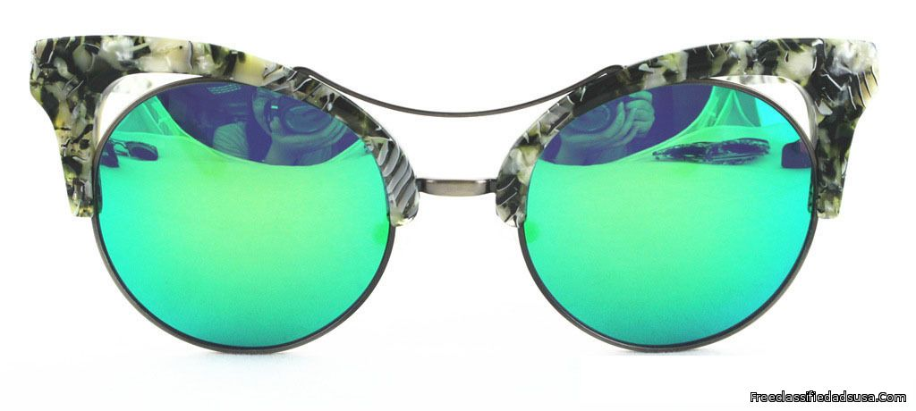 Cat Eye Dark Green White Frame-Green & Blue Mirror Lens
