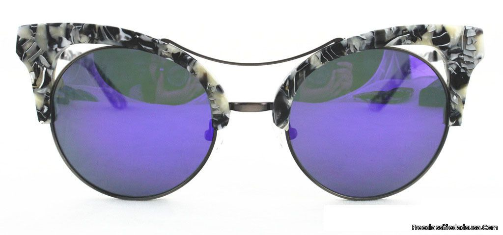 Cat Eye Black White Frame & Purple Black Mirror Lens