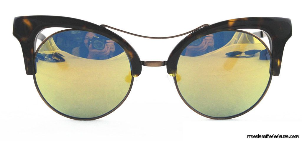 Cat Eye Yellow Black Frame & Gold Mirror Lens