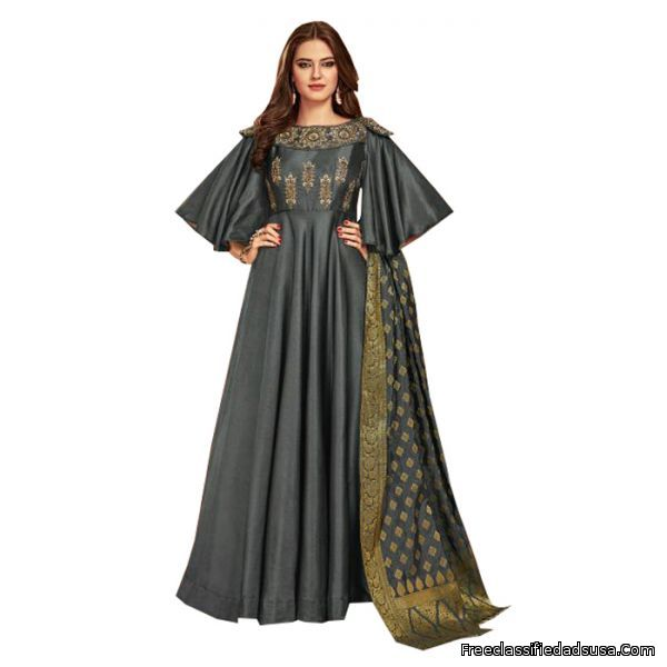 Designer Dark Grey Art Silk Anarkali Suits