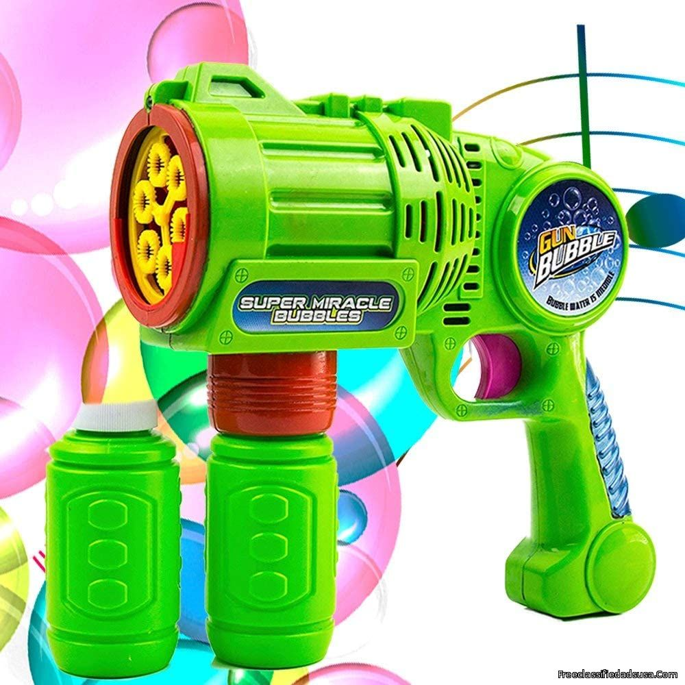 Toysery Bubble Gun Blower for Kids, NonToxic Leak-Resistant Automatic Bubble in Minutes, Easy Refill