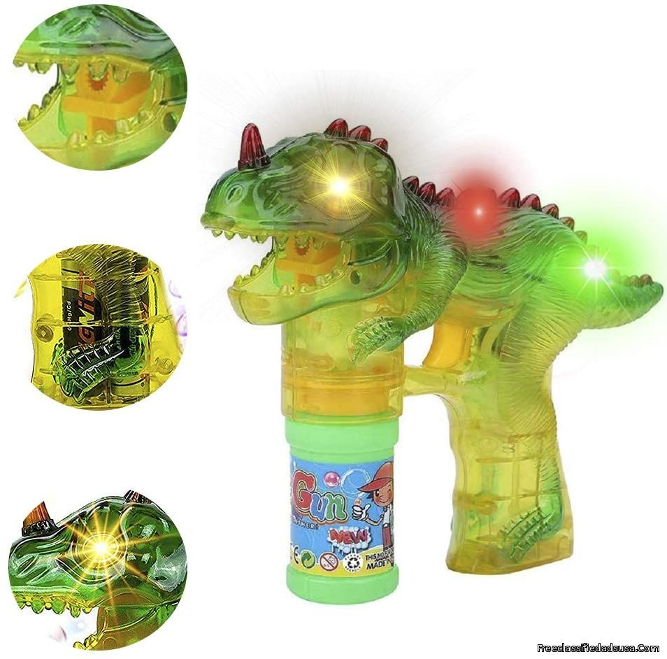 Toysery Dinosaur Bubble Shooter Gun Light Up Bubbles Blower with LED Flashing Lights and Sounds