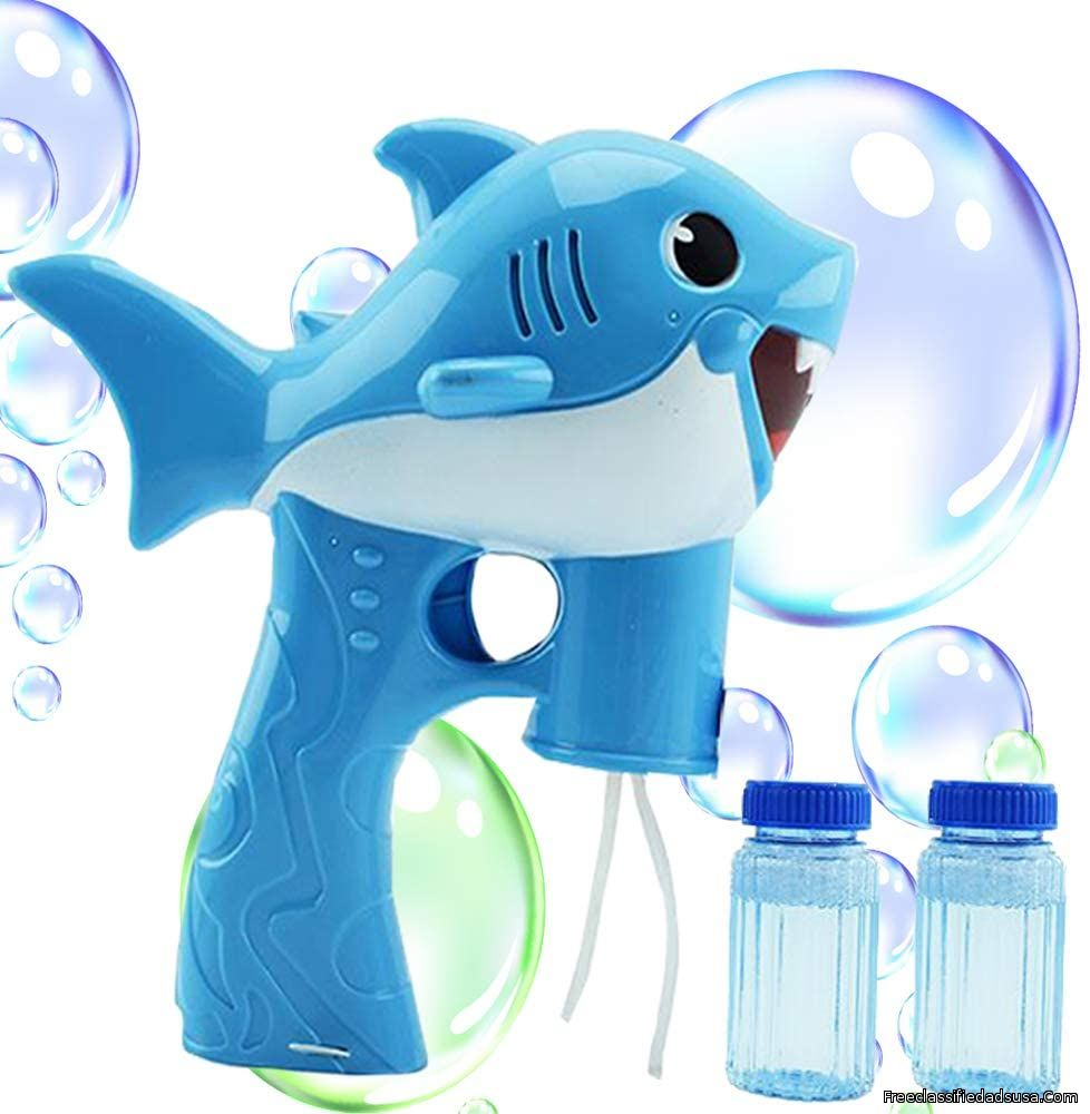 Toysery Shark Bubble Gun for Kids, Light-Up Bubble Blaster Toy with Easy Refill Bubble Solution