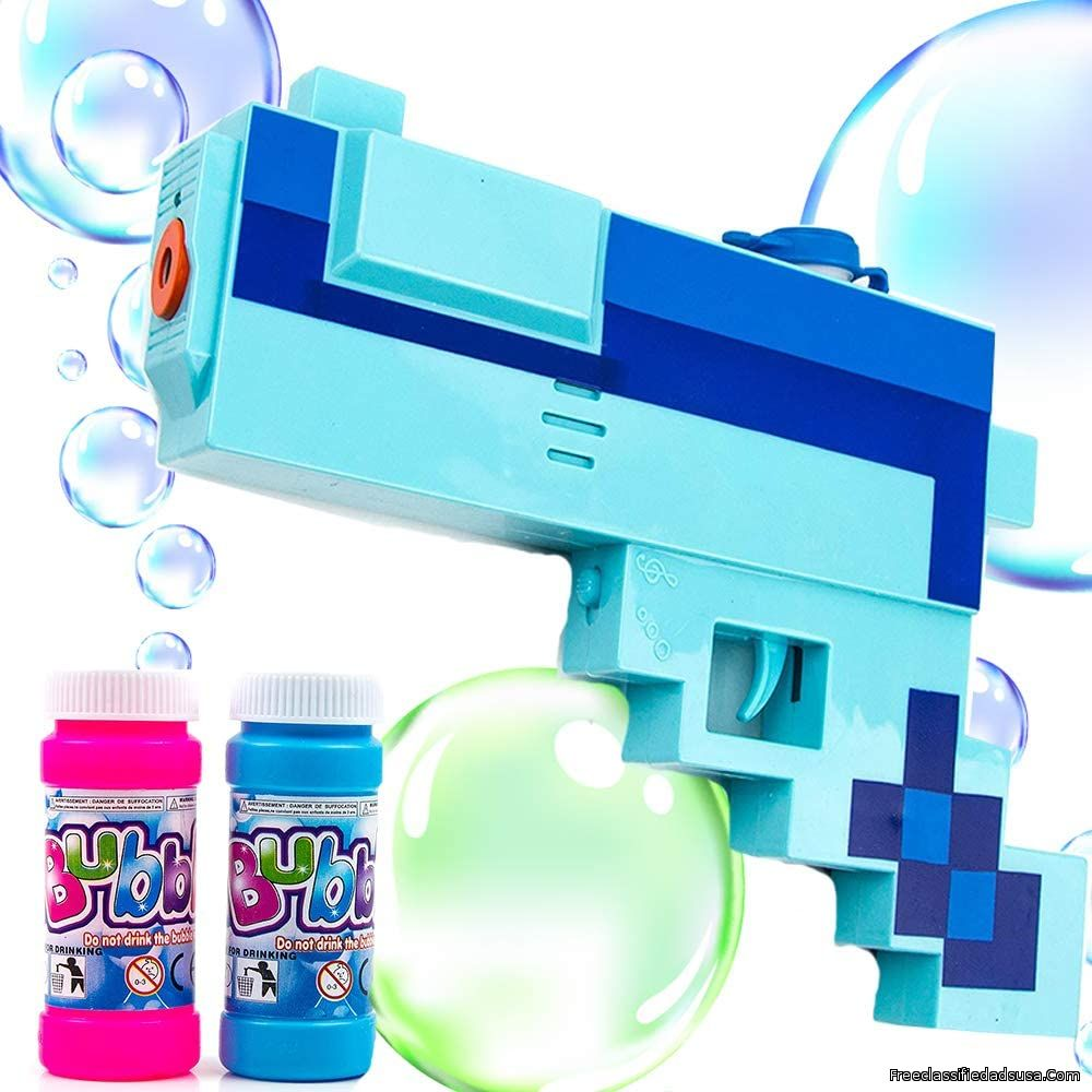 Toysery Bubble Gun Blower Mosaic Design Leak-Resistant Bubble Maker Machine with LED Lights