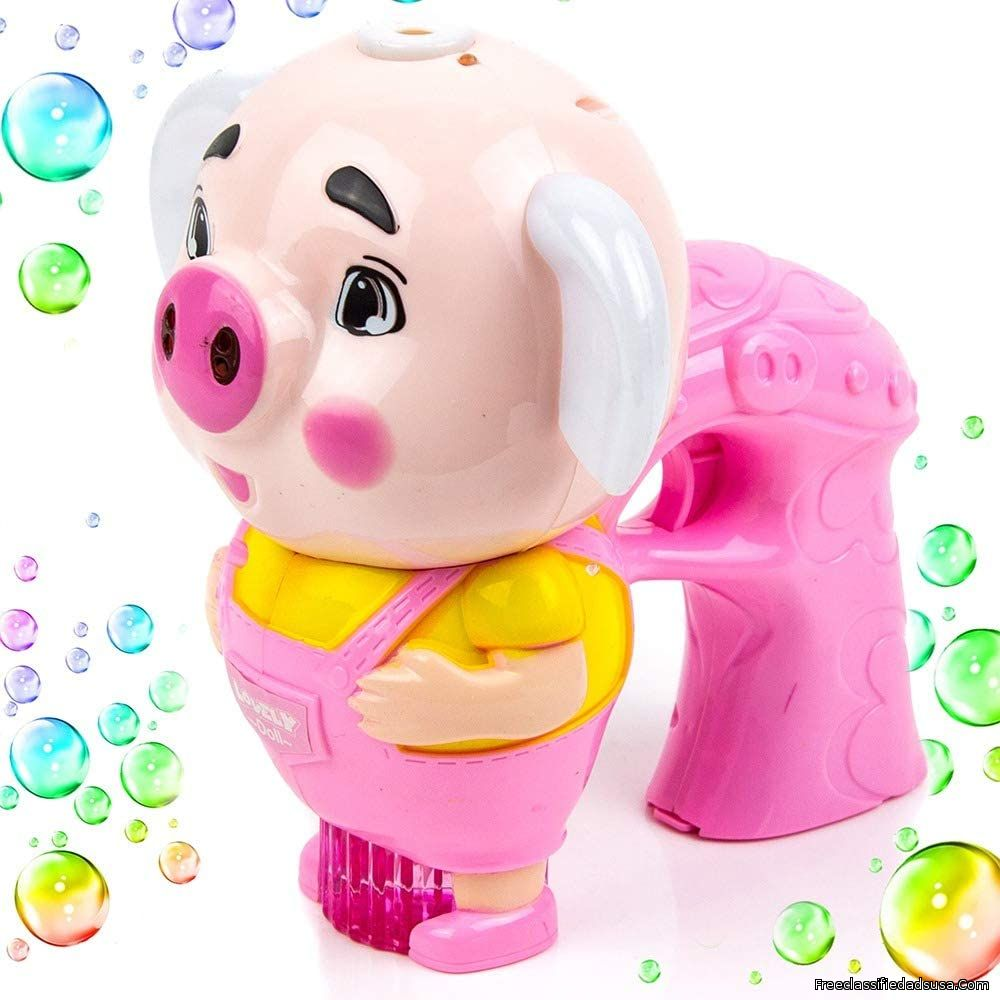 Toysery Pig Shaped Bubble Machine Gun for Kids, Music Bubble Blaster with Bubble Refill Solution